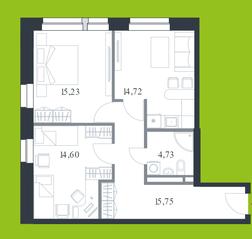 МФК «Citimix», планировка 2-комнатной квартиры, 65.00 м²