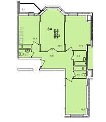 ЖК «Южный», планировка 3-комнатной квартиры, 89.80 м²