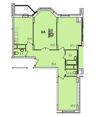 ЖК «Южный», планировка 3-комнатной квартиры, 89.90 м²