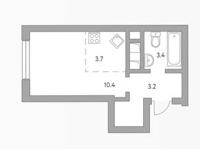 ЖК «Бригантина», планировка студии, 22.60 м²