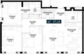 ЖК «Клубный дом Noble», планировка 4-комнатной квартиры, 97.49 м²