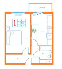 ЖК «Дмитров Сити», планировка 1-комнатной квартиры, 34.30 м²