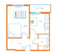 ЖК «Дмитров Сити», планировка 1-комнатной квартиры, 37.50 м²