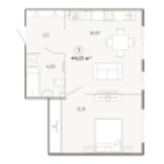 ЖК «Наследие», планировка 1-комнатной квартиры, 44.15 м²