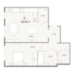 ЖК «Наследие», планировка 2-комнатной квартиры, 58.78 м²