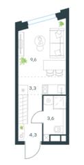 ЖК «Level Нагатинская», планировка 1-комнатной квартиры, 20.80 м²