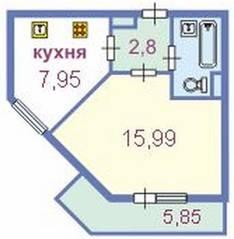 ЖК «Октябрьская набережная», планировка 1-комнатной квартиры, 32.94 м²