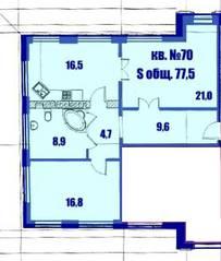 МЖК «Династия» (ул. Фабричная, д. 15Д), планировка 2-комнатной квартиры, 77.50 м²