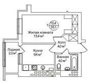 ЖК «AlpenPark», планировка 1-комнатной квартиры, 35.10 м²
