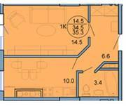 ЖК «Форпост», планировка 1-комнатной квартиры, 34.50 м²