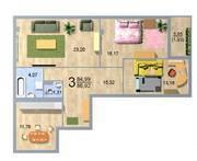 ЖК «Дом на Липовой аллее», планировка 3-комнатной квартиры, 84.99 м²