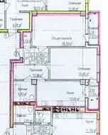 ЖК «Восток», планировка 2-комнатной квартиры, 64.97 м²