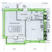 ЖК «Восток», планировка 1-комнатной квартиры, 43.47 м²