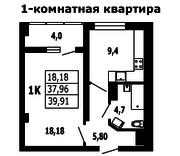 ЖК «на ул. Гагарина, 11», планировка 1-комнатной квартиры, 39.91 м²