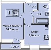 МЖК «ЗаМитино», планировка 1-комнатной квартиры, 32.60 м²