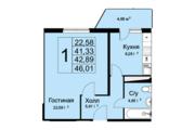 ЖК «Высокие жаворонки», планировка 1-комнатной квартиры, 46.01 м²