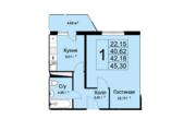 ЖК «Высокие жаворонки», планировка 1-комнатной квартиры, 45.30 м²
