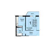 ЖК «Высокие жаворонки», планировка 1-комнатной квартиры, 45.49 м²