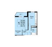 ЖК «Высокие жаворонки», планировка 1-комнатной квартиры, 50.15 м²