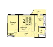ЖК «Высокие жаворонки», планировка 2-комнатной квартиры, 60.43 м²