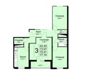 ЖК «Высокие жаворонки», планировка 3-комнатной квартиры, 77.74 м²