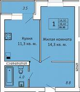 МЖК «ЗаМитино», планировка 1-комнатной квартиры, 39.30 м²