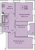 МЖК «ЗаМитино», планировка 3-комнатной квартиры, 69.40 м²