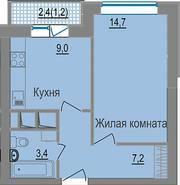 МЖК «ЗаМитино», планировка 1-комнатной квартиры, 35.50 м²