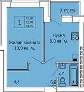 МЖК «ЗаМитино», планировка 1-комнатной квартиры, 34.05 м²