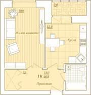 ЖК «Новый Город», планировка 1-комнатной квартиры, 46.80 м²