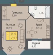 ЖК «Кранц-Парк», планировка 1-комнатной квартиры, 49.47 м²