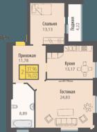 ЖК «Кранц-Парк», планировка 2-комнатной квартиры, 76.02 м²