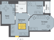 ЖК «Кранц-Парк», планировка 2-комнатной квартиры, 81.41 м²