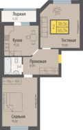 ЖК «Кранц-Парк», планировка 2-комнатной квартиры, 66.04 м²