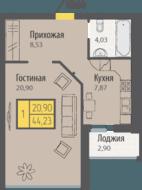 ЖК «Кранц-Парк», планировка 1-комнатной квартиры, 44.23 м²