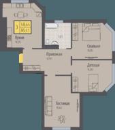 ЖК «Кранц-Парк», планировка 3-комнатной квартиры, 85.41 м²