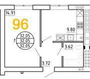 ЖК «Янтарный дом 2», планировка 1-комнатной квартиры, 32.05 м²