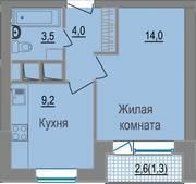 МЖК «ЗаМитино», планировка 1-комнатной квартиры, 31.70 м²