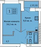 МЖК «ЗаМитино», планировка 1-комнатной квартиры, 34.35 м²