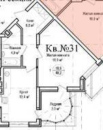 ЖК «Гнездо аиста», планировка 1-комнатной квартиры, 48.20 м²