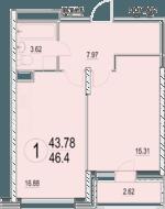 ЖК «Солнечная долина», планировка 1-комнатной квартиры, 46.40 м²