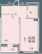 ЖК «Солнечная долина», планировка 1-комнатной квартиры, 46.42 м²