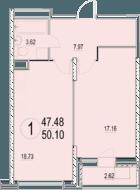ЖК «Солнечная долина», планировка 1-комнатной квартиры, 50.10 м²