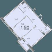ЖК «Солнечная долина», планировка 2-комнатной квартиры, 63.69 м²