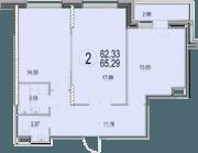 ЖК «Солнечная долина», планировка 2-комнатной квартиры, 65.29 м²