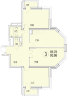 ЖК «Солнечная долина», планировка 3-комнатной квартиры, 90.86 м²