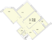 ЖК «Солнечная долина», планировка 3-комнатной квартиры, 78.56 м²