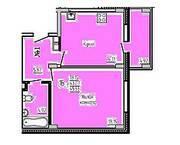 МЖК «Заречье» (Егорьевск), планировка 1-комнатной квартиры, 45.53 м²