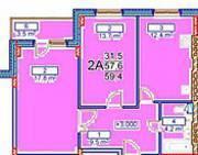 МЖК «Заречье» (Егорьевск), планировка 2-комнатной квартиры, 59.40 м²