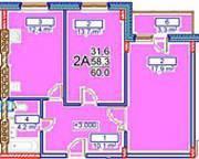 МЖК «Заречье» (Егорьевск), планировка 2-комнатной квартиры, 60.00 м²